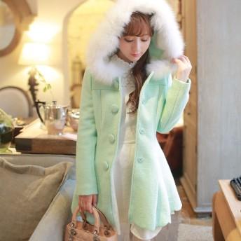 ダッフルコート - Ruby's Collection 【Ruby's Collection】ファー付きフードのスカラップ裾コート