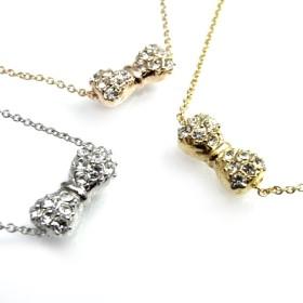 ブレスレット・バングル - アクセサリーショップPIENA ラインストーンのリボンが輝くブレスレット 国産 日本製 シルバー ゴールド ピンクゴールド