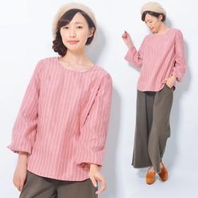 シャツ - CLOTHY ストライププリント バックリボン使い バルーンスリーブ 長袖 ブラウ