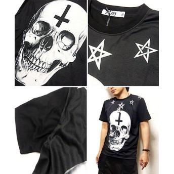 Tシャツ - EVERSOUL Tシャツ 半袖 メンズ スカル インクジェット プリント Tシャツ ヒップホップ ダンス ビジュアル系 衣装 :スカルフェイスのプリントがインパクト大のフォトTシャツ!