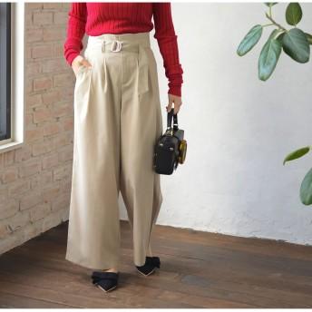 パンツ・ズボン全般 - Re: EDIT 軽い着心地のすっきり美脚スラックス ベルト付きハイウエストセミワイドパンツ ボトムス/パンツ/ワイドパンツ・ガウチョパンツ