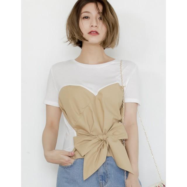 Tシャツ - Re: EDIT Tシャツ×ビッグリボンでフェミニンに コルセットライクリボンデザインTシャツ トップス/カットソー・Tシャツ 夏