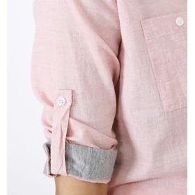 シャツ - kirakiraShop シャツ《全3色2サイズ 異素材MIXシャンブレー スキッパーシャツ》 レディース トップス シャツ スキッパー シャンブレー コットン綿素材 ホワイト ピンク サックス カジュアル 七分袖
