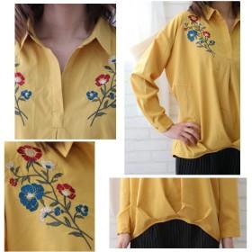 シャツ - Petit Fleur 胸元 に 花柄 刺しゅう が入った 長袖 ドロップショルダー レディース スキッパー シャツ ブラウス (全8カラー)
