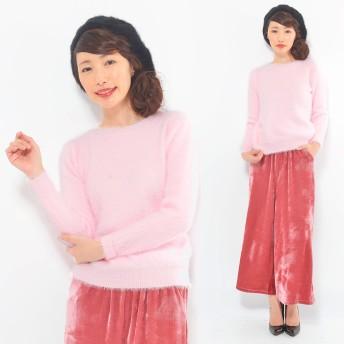ニット・セーター - CLOTHY アンゴラタッチシャギー■ 無地 クルーネック 長袖 ニット