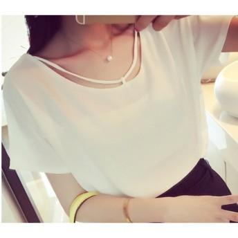 カットソー - Miss R ホルタートップ デザインシフォンシャツ(2色)