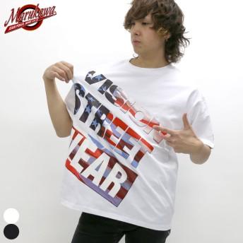 Tシャツ - MARUKAWA VISION STREET WEAR Tシャツ メンズ 夏 星条旗 プリント ビッグ シルエット 半袖ホワイト/ブラックM/L/LL【 ティーシャツ アメリカ BIG ビッグT ブランド ロゴ ストリート】
