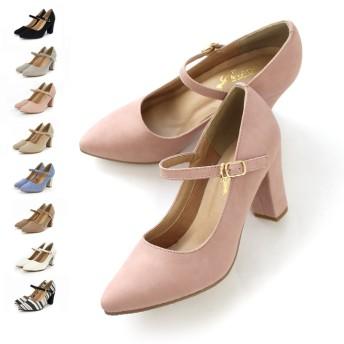 パンプス - AmiAmi 8cm太ヒールストラップパンプスチャンキーヒール ポインテッド とんがり 太ヒール 美脚 黒 低反発 シューズ 靴