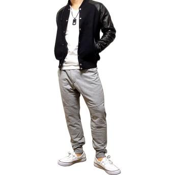 パンツ・ズボン全般 - EVERSOUL スウェットパンツ メンズ 切替 裏毛 スウェット パンツ ダンス 衣装 杢グレー ブラック