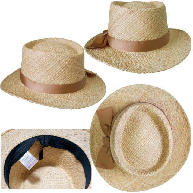 ハット - FADEN グログランリボン ラフィアハット カンカン帽 ハット 春夏 紫外線対策