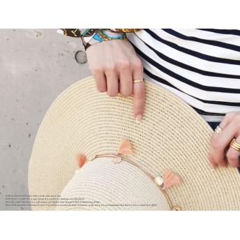 麦わら・ストローハット・カンカン帽 - AWESOME-shop タッセルつば広ハット 紫外線 つば広 折りたたみ uv ペーパーハット 麦わら 帽子 神戸 KOBE こうべ