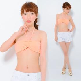 チューブトップ・ベアトップ - CLOTHY ■UV&COOL■吸汗速乾 無地 パッド付 ホルターストリング ブラトップ(M/L)