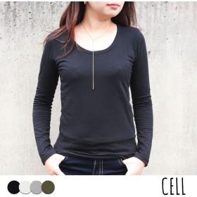 Tシャツ - CELL 【T/S 無地ロンT/カットソー/トップス/Tシャツ/長袖/Uネック/シンプル/ベーシック】