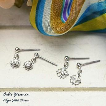 ピアス - YUKATANゆかたん レディースピアス カジュアル エレガント シンプル 花びらとクローバーの飾り枠にキュービック・ジルコニアをはめたスタッドピアス アクセサリー