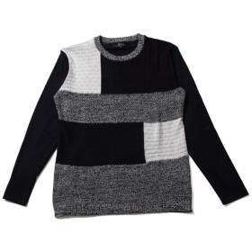 ニット・セーター - SPUTNICKS 春 メンズファッション 前身配色 編み替え ニット 長袖 カットソー Buyer's Select バイヤーズセレクト