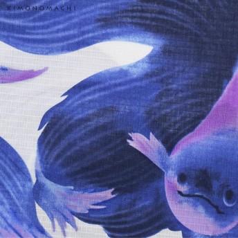 浴衣 - KIMONOMACHI 京都きもの町オリジナル 浴衣単品「ブルー熱帯魚」S、フリー、TL、LL 花火大会、夏祭り、夏フェスに 女性浴衣お仕立て上がり浴衣大人かわいい ユニーク