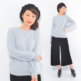 ニット・セーター - CLOTHY アンゴラタッチシャギー■ 無地 バルーンスリーブ 長袖 ニット