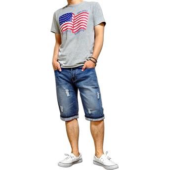 デニムパンツ・ジーンズ - EVERSOUL デニム ショートパンツ メンズ 五分丈 5分丈 ハーフパンツ パンツ 切替 厚手 おしゃれ 短パン / 絶妙な色落ち&ダメージ加工の裾切替デニムショートパンツ!