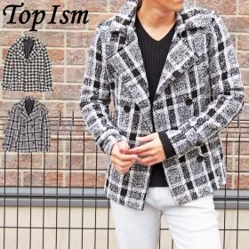 Pコート - TopIsm Pコート メンズ ピーコート タータンチェック ショート丈 ニット ジャケット コート アウター メンズファッション 通販 新作