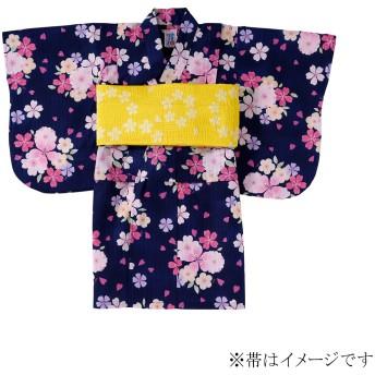 ミキハウス さくら柄浴衣(女児用) 紺
