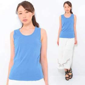 タンクトップ - CLOTHY ■CLOTHY BASIC■コットン100% フライス素材 無地 クルーネック ノースリーブ Tシャツ(S/M/L/LL/3L)
