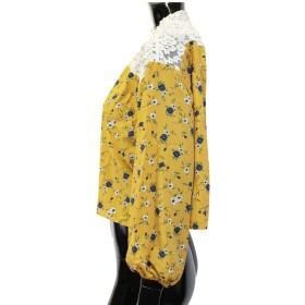 ブラウス - CELL 花柄シャーリングハイネックレース切替ブラウス シフォントップス 小花柄 バルーン袖