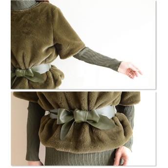 ワンピース - Sawa a la mode ふわふわで上品な一枚魅せ。レディース ファッション トップス ワンピース 長袖 ミディアム丈 グリーン フリーサイズ M L LLMサイズ Lサイズ LLサイズ 9号 11号 13号 15号 サワアラモード Sawa a la mod