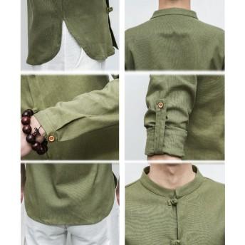 ワイシャツ - BIG BANG FELLAS チャイナシャツ 長袖 捲れるデザイン 半袖 メンズ メンズファッション ストリート系 カジュアル 春 夏 個性 中華 エスニック