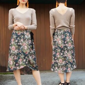 巻きスカート - privatebeach ゴブラン織りラップスカート