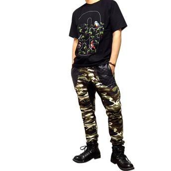 パンツ・ズボン全般 - EVERSOUL スウェットパンツ メンズ コットンパンツ 裏毛 パンツ スウェット カモフラ 迷彩 ダンス 変形 / 異素材切替で個性的なデザインの裏毛スウェットパンツ!