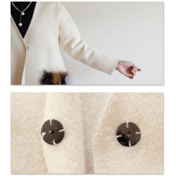 ロングコート - Sawa a la mode ファーポケットがエレガントなミドルコート。レディース ファッション コート ファーポケット ホワイト ノーカラー フリーサイズ M LLL Mサイズ Lサイズ LLサイズ 9号 11号 13号 15号 サワアラモード Sawa a