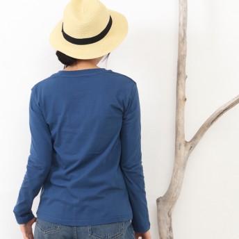 Tシャツ - SHOT+ レディース Vネック 無地 ポケット Tシャツ 背裏 プリント リブネック 長袖 インナー ホワイト ブラック グレー オリーブブルー M