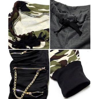 パンツ・ズボン全般 - EVERSOUL スウェットパンツ メンズ コットンパンツ 裏毛 パンツ スウェット カモフラ 迷彩 ダンス / ジッパー切替&チェーン使いで個性的なデザインの裏毛スウェットパンツ!