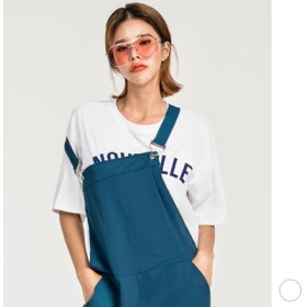Tシャツ - KawaiCat 【ts19009】トップス レディース Tシャツ 半袖 5分袖 ロゴ 英字 プリント ゆったり 大きめ ラウンドネック スタイリッシュホワイト 綿100%
