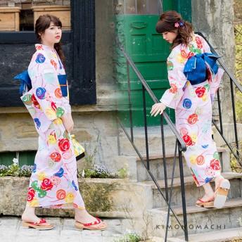 浴衣 - KIMONOMACHI 京都きもの町オリジナル 浴衣単品「ピンクにカラフル水風船」S、フリー、TL、LL花火大会、夏祭り、夏フェスに女性浴衣お仕立て上がり浴衣 あわいろ ピンク フェミニン