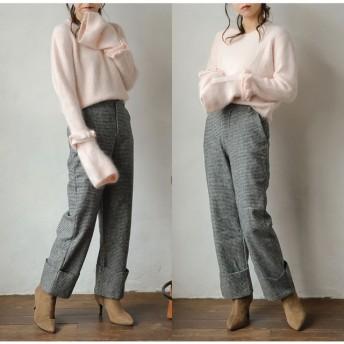 パンツ・ズボン全般 - Re: EDIT 品の良さにセンスを感じる旬のアイテム 千鳥格子ウール混セミワイドパンツ ボトムス/パンツ/クロップドパンツ