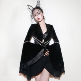 ダンス衣装舞台服セクシーステージ衣装ガールズワンピースヒップホップDJ舞台ハロウィン魔女パーティーファション衣装bf1431手飾りをする