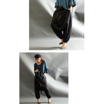 パンツ・ズボン全般 - GOLDJAPAN 大きいサイズ専門店 気になる太ももを自然にカバー♪ 大きいサイズ レディース ボトムス パンツ サルエルパンツ ウエストゴムパンツ ロングパンツウエストクロスサルエルパンツ ウエストゴム ポケット付き シンプル LL 2L 3L 4L