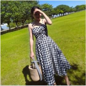 キャミソール ワンピース ギンガムチェック リボン ドレス 結婚式 お呼ばれドレス 二次会 韓国 20代 30代 40代 大きいサイズ