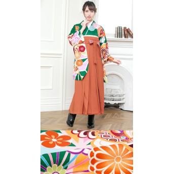 着物 - SOUBIEN 袴セット 緑色 グリーン 橙色 オレンジ 桜 菊 麻の葉 ラメ 絵羽柄 重衿付き 着物セット 卒業式 仕立て上がり