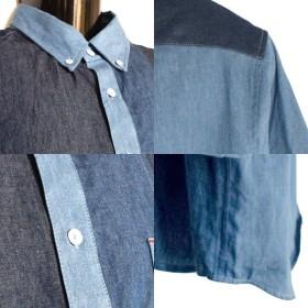 シャツ - Style Block MEN シャツ デニムシャツ ボタンダウン カジュアルシャツ 7分袖 クロップドスリーブ 4.5オンス 長袖 トップス メンズ サックスネイビー ブルー 春先行