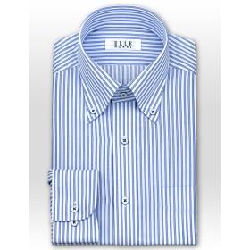 ワイシャツ - ワイシャツの山喜 ★新商品★ELLE HOMMETC 形態安定加工 涼感素材 ゆったり長袖ブルーストライプ・ボタンダウンシャツ(ビジネスシャツ・ワイシャツ・Yシャツ・ドレスシャツ)(zed352-450)
