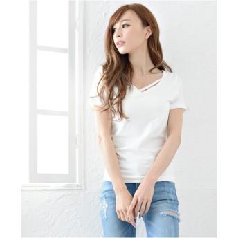 Tシャツ - Janiss 半袖スクラブルカットデザインTEE