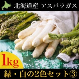 2020年ご予約承り中 4月出荷開始 送料無料 北海道産アスパラ2色食べ比べセット3(グリーン(L500g)・ホワイト(M-L500g))合計1kg