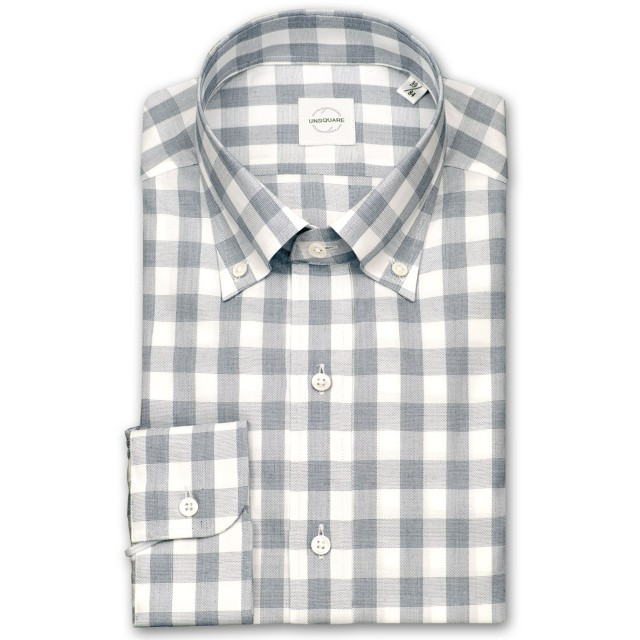 ワイシャツ - ワイシャツの山喜 UNSQUARE 長袖ワイシャツ メンズ 春夏秋 標準体 ブロックチェックボタンダウンシャツ綿:100%ネイビー(zqd311-650)