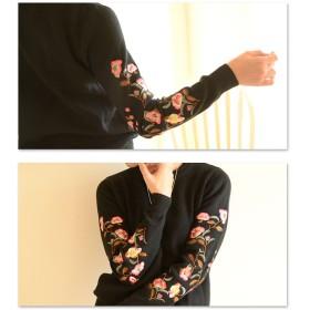 ニット・セーター - Sawa a la mode 色鮮やかな椿刺繍のニット。レディース ファッション トップス ニット 刺繍 花 長袖 ブラック フリーサイズ M L LL MサイズLサイズ LLサイズ 9号 11号 13号 15号 サワアラモード Sawa a la mode