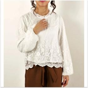 ブラウス - s.i.p チュール刺繍レース裾スカラップスプチハイネックプルオーバー/ブラウス/トップス
