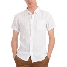 シャツ - SPADE シャツ メンズ Men's 半袖 綿麻 カジュアルシャツ Yシャツ カラー shirt シンプル 白シャツ プレーン きれいめアメカジ 春 夏 マリン リゾート