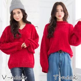 ニット・セーター - Girly Doll 選べるネック♪リブモールニット!(Vネック/Tネックの2タイプ)トップス/パンツ/ワンピース/ニット/大きいサイズ/韓国ファッション/トレンド【2019年商品】