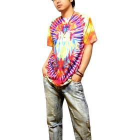 Tシャツ - EVERSOUL タイダイ プリント Tシャツ フルカラー ロゴ メンズ : カラフルなタイダイ柄のロゴプリントTシャツ!ストリート、ダンス衣装に!